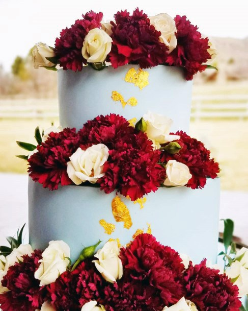 Fall Wedding Ideas Blue And Gold Cake With Burgundy Tiered Flowers Inspiration