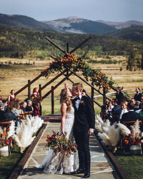 Fall Wedding Ideas Bohemian Mountain Golden Grass Ceremony Background