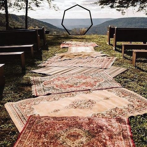 Fall Wedding Ideas Bohemian Red And Cream Rug Ceremony Aisle Runner Decor