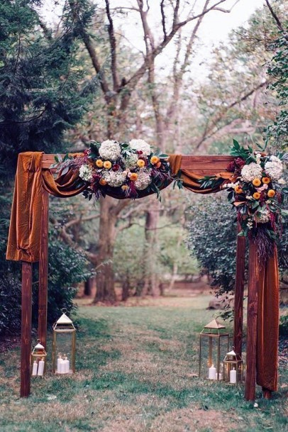 Fall Wedding Ideas Bronze Arch Drape And Flowers Decor