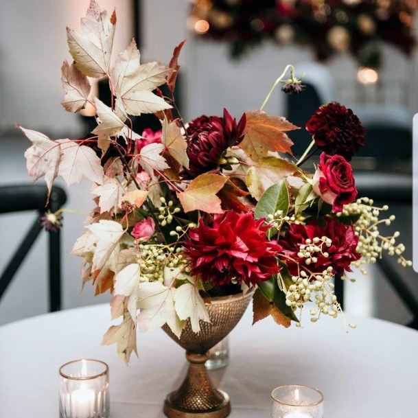 Fall Wedding Ideas Centerpieces Fall Leaves Orange And Red