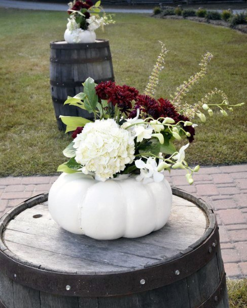 Fall Wedding Ideas Cocktail Wine Barrel Tables With White Pumpkin Vases Inspiration