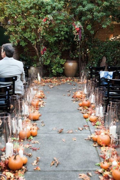 Fall Wedding Ideas Country Pumpkin Ceremony Decor With Candles And Leaves