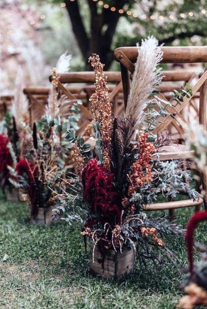 Fall Wedding Ideas Dark Florals Ceremony Aisle Decorations