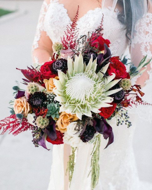Fall Wedding Ideas Dark Purples And Red Bouquet Inspiration