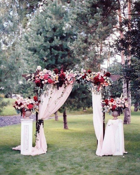 Fall Wedding Ideas Elegant Burgundy White And Pink Arch Floral