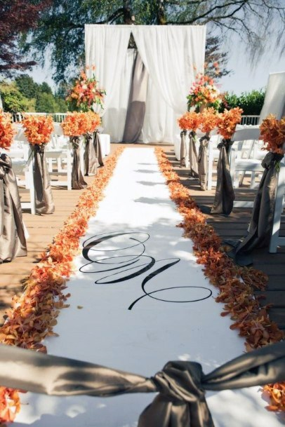 Fall Wedding Ideas Elegant Orange Flower Pedal Aisle Decor