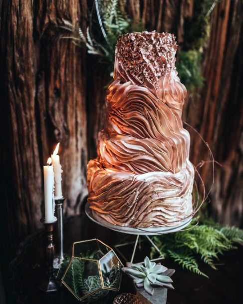 Fall Wedding Ideas Fairy Tale Bronze Silk Cake Icing Decor With Greenery