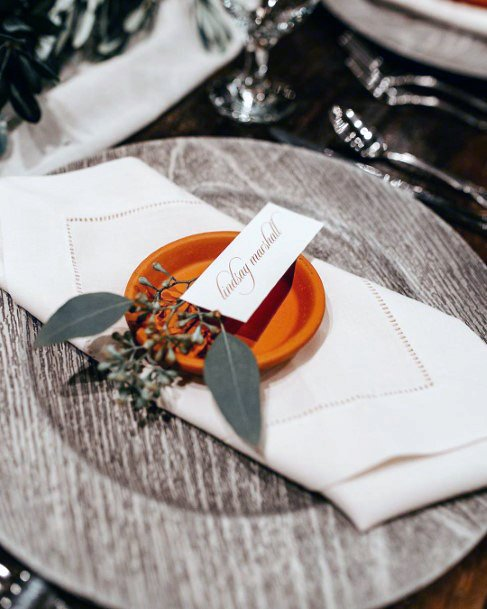 Fall Wedding Ideas Greenery And Orange Place Setting Decor Inspiration
