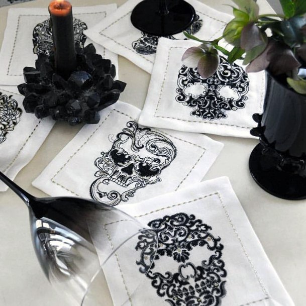 Fall Wedding Ideas Halloween Skull Cocktail Napkin Designs