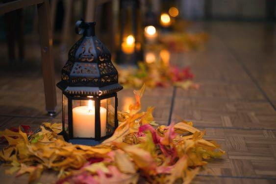Fall Wedding Ideas Lantern Lit Ceremony Aisle With Fall Leaves Inspiration