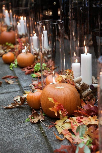 Fall Wedding Ideas Leaves Pumpkins And Candles Rustic Aisle Inspiration
