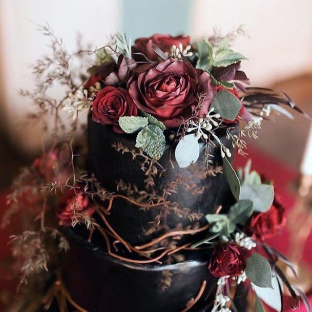 Fall Wedding Ideas Modern Black Cake With Greenery And Red Roses