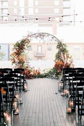 Fall Wedding Ideas Modern Circle Arch With Red And Orange Flowers