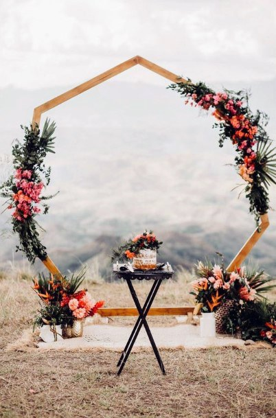 Fall Wedding Ideas Modern Geometric Ceremony Arch With Beautiful Pink And Burgundy Flowers