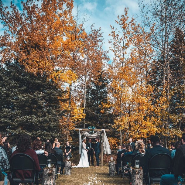Fall Wedding Ideas Natural Fall Trees Ceremony Landscape Inspiration