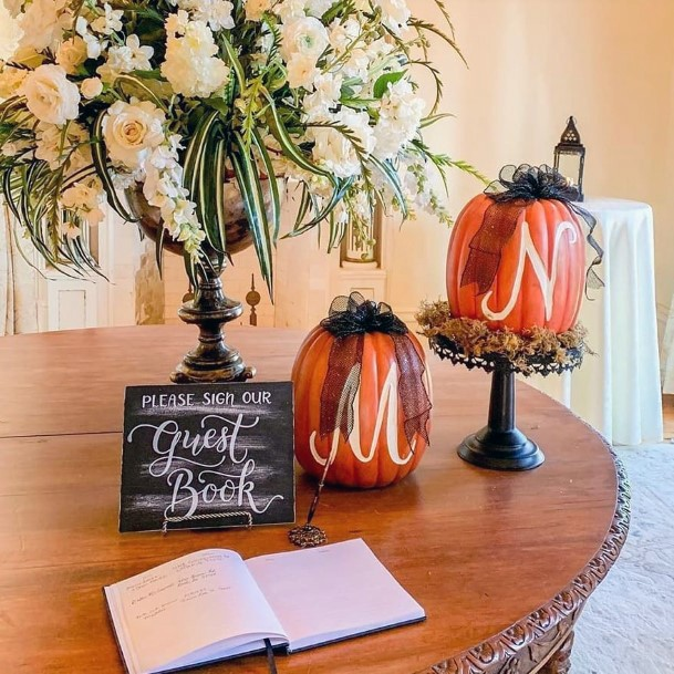 Fall Wedding Ideas Natural Orange Pumpkin Decor Guest Book Table