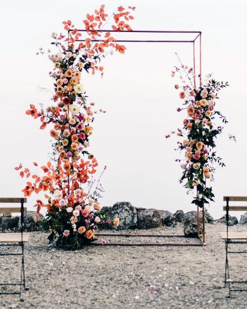 Fall Wedding Ideas Orange Yellow Greenery Arch Climbing Floral Inspiration