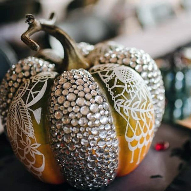 Fall Wedding Ideas Painted And Gem Pumpkin Decor