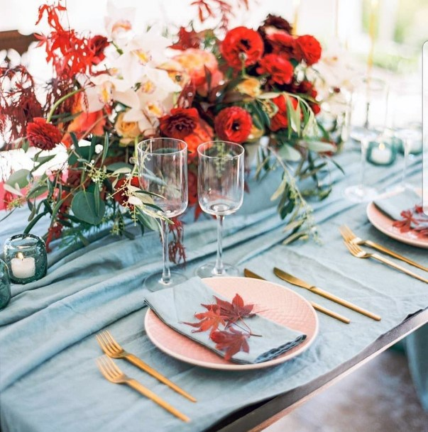 Fall Wedding Ideas Red Orange And Yellow With Blue Table Decor