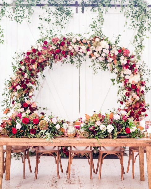 Fall Wedding Ideas Romantic Bridal Table Floral Arch Background And Bouquets
