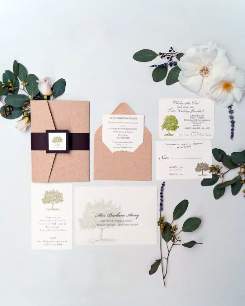 Fall Wedding Ideas Rustic Greenery And Tree Inspired Invitation Suite Inspiration