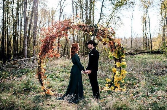 Fall Wedding Ideas Rustic Tree Branch Arbor With Yellow And Burgundy Florals