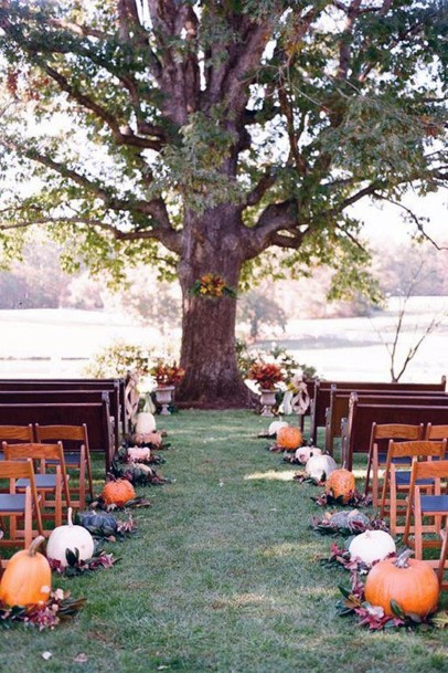 Fall Wedding Ideas Rustic Tree Ceremony Arch And Pumpkin Inspired Aisle Decorations