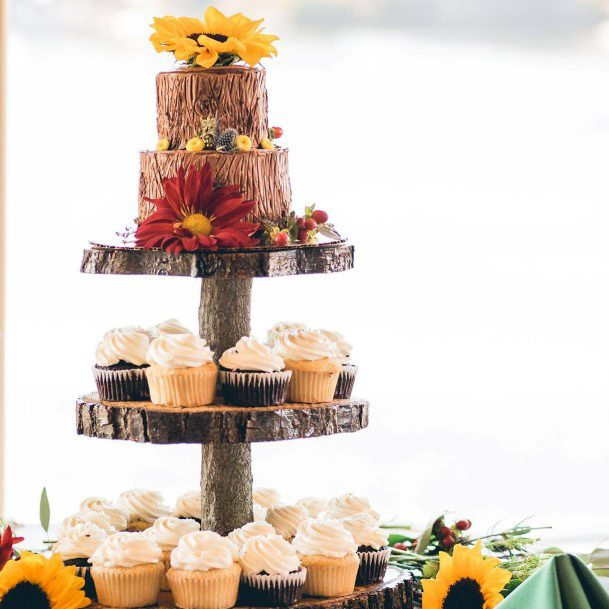 Fall Wedding Ideas Rustic Tree Slab Cake Stand With Wood Design Tiered Cake