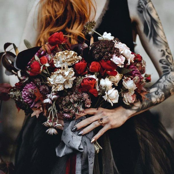 Fall Wedding Ideas Semi Dried Flowers With Black Wedding Dress Inspiration