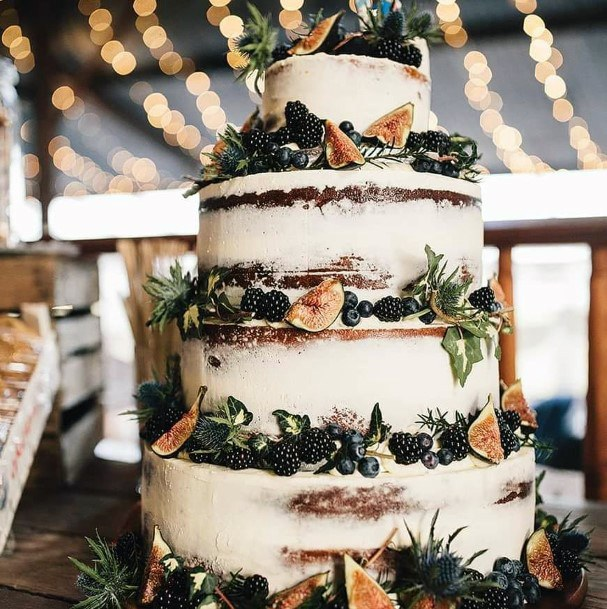 Fall Wedding Ideas Semi Naked Cake With Fresh Fruit Decor Inspiration