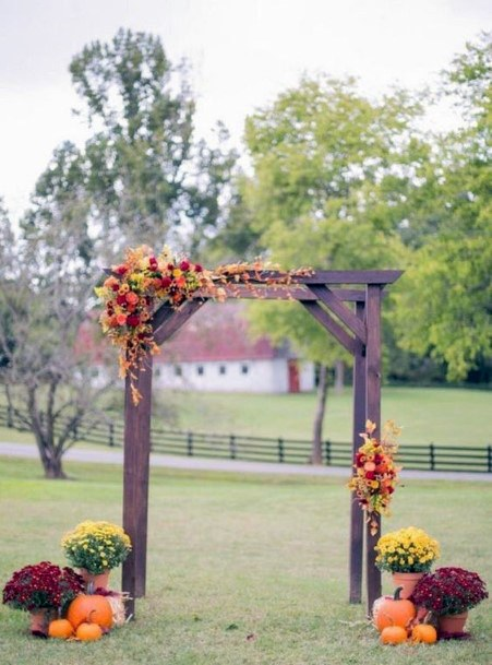 Fall Wedding Ideas Simple Red Orange Yellow Arch Design