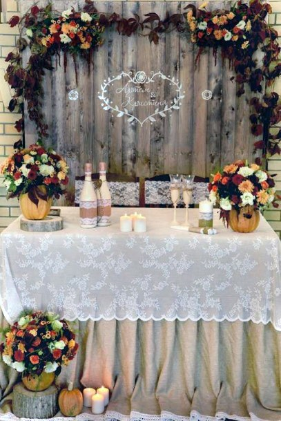 Fall Wedding Ideas Sweetheart Table Decorations With Pumpkins And Floral Designs