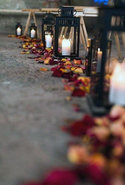 Fall Wedding Ideas Whimsical Rose Pedals And Lanterns Ceremony Aisle Decorations
