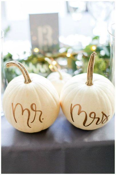 Fall Wedding Ideas White And Gold Table Decor Mr And Mrs Signs