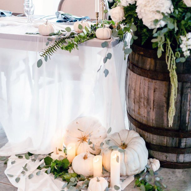 Fall Wedding Ideas White Pumpkins And Greenery Country Wine Barrel Decor
