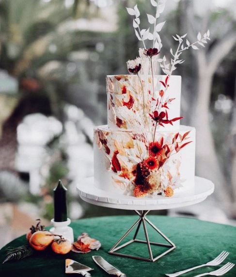 Fall Wedding Ideas White Tiered Cake With Orange And Red Floral