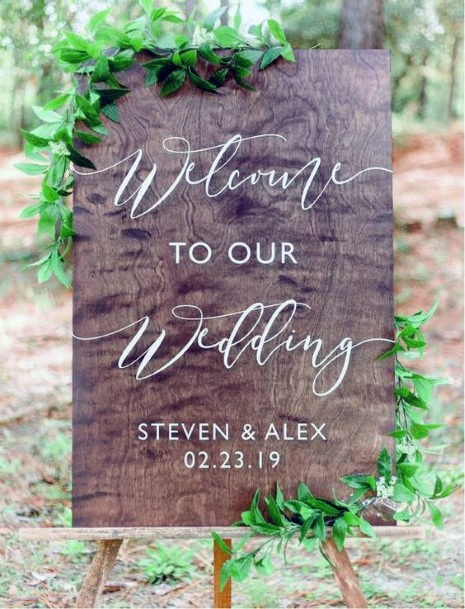 Fall Wedding Ideas Wooden Welcome Sign Inspiration