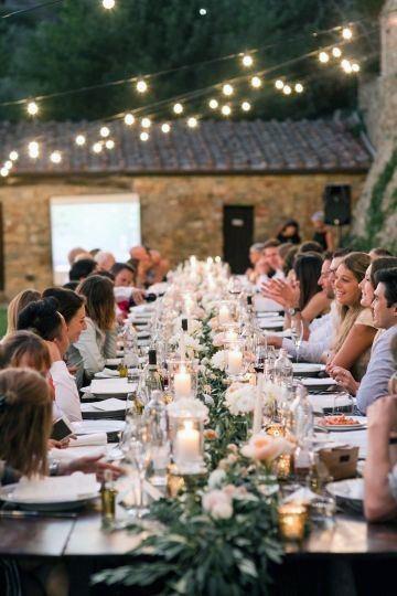 Family Style Long Reception Table Backyard Wedding Ideas