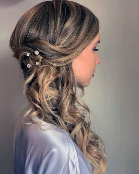 Fancy Side Swept Golden Curls Hairstyle Women