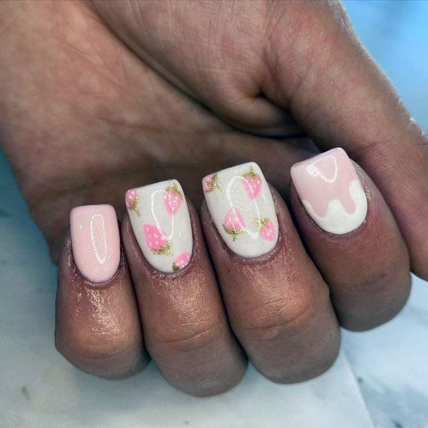 Fancy Squared Tip Pink Strawberry Nails For Girls
