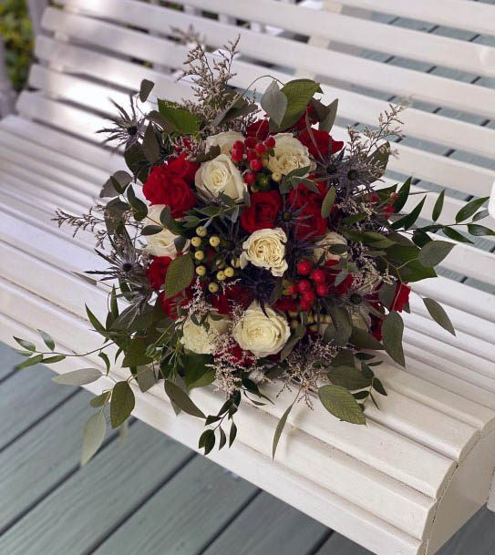 Fantastic Red And White Rose Flowers Bunch Wedding