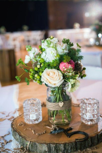 Farm Mason Jar Vase With Wooden Slab Stand Centerpieces Rustic Wedding Ideas