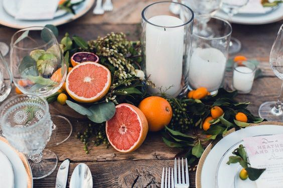 Farm To Table Fruit And Greenery Wedding Centerpiece Ideas
