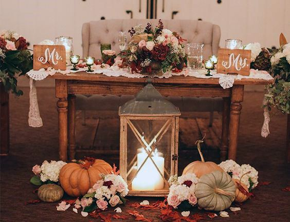 Farm To Table Pumpkin And Floral Sweetheart Decor Fall Wedding Ideas