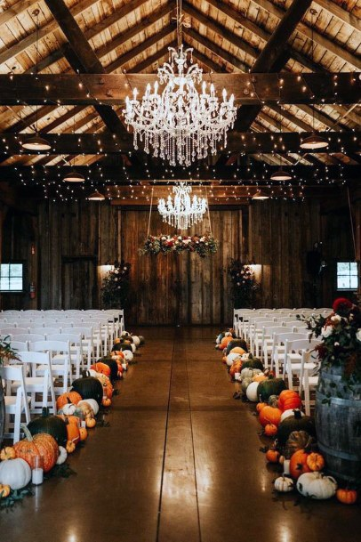 Farmhouse Barn Inspired Pumpkin Aisle Decorations Fall Wedding Ideas