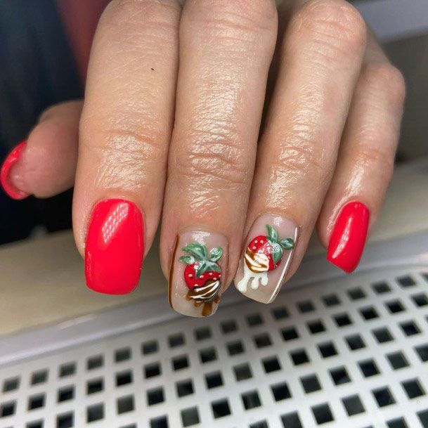 Fascinating Strawberry Red Nail Design For Ladies