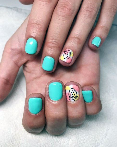 Fascinating Turquoise Strawberry Nails For Ladies