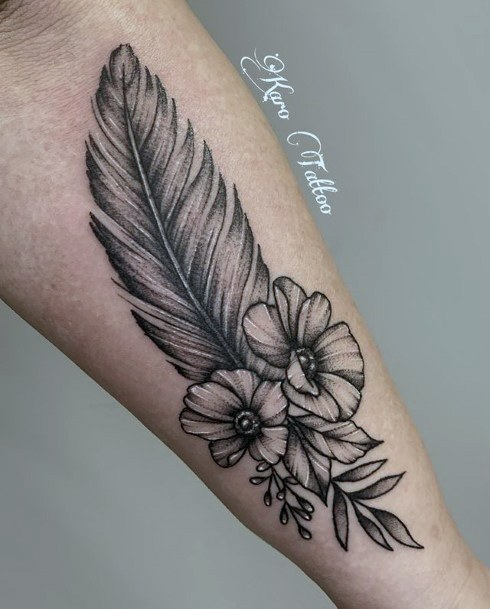Feather And Florals Tattoo Women