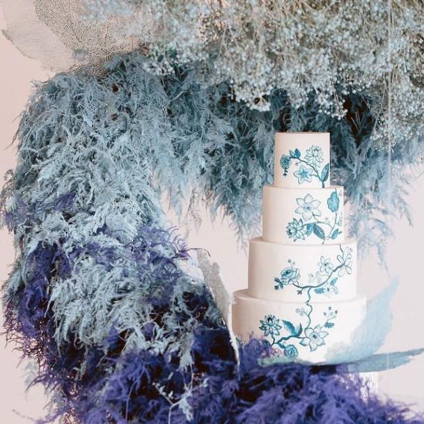 Feathery Blue White Wedding Cake